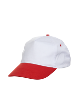 Cap Baseball 5 panel White Red